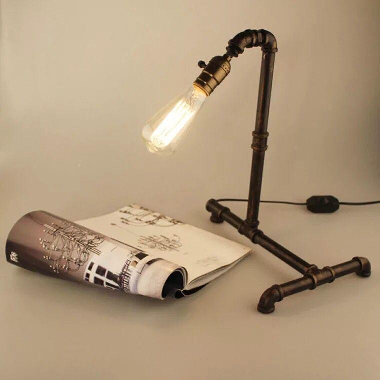 US $40 24 35% OFF|Vintage Water PIpe Lightings Retro Industrial Desk Lamps  Steel Pipe Table Lamp E27 Base Holder for Bedroom Light Lighting-in Desk