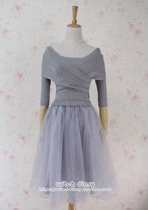 Freeship cross elastic knitted veil tutu bottom grey spring vintage dress