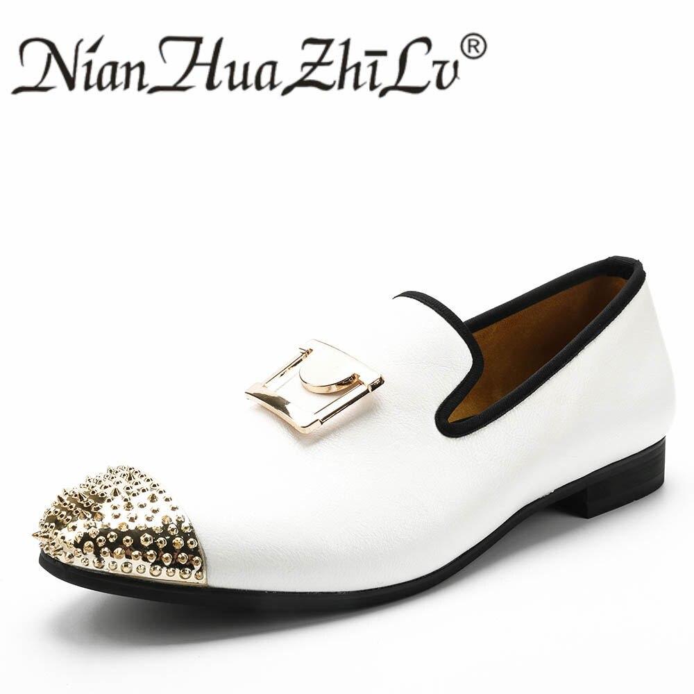 Zapatos casuales de hombre a la moda nuevos mocasines de cuero blanco hechos a mano con hebilla dorada zapatos de vestido de boda y fiesta-in Mocasines from zapatos    2