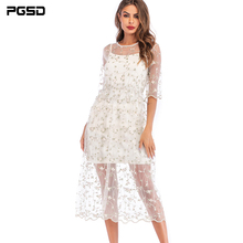 PGSD 2019 New Summer Fresh casual Elegant Flower embroidery Medium length white Gauze Sling Dress female Fashion women clothes