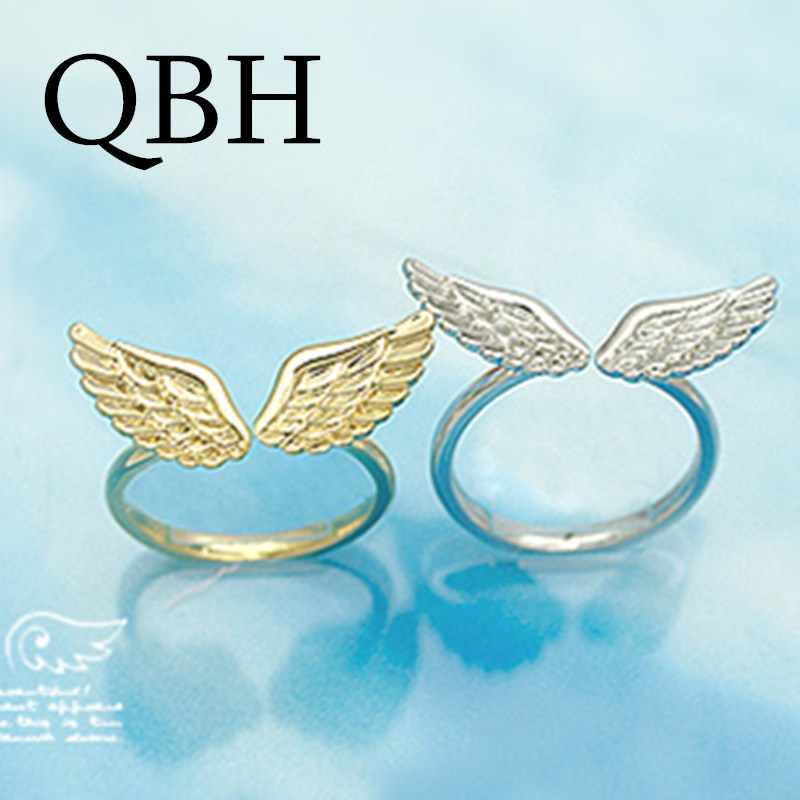G163  Wholesales Hot New Anel Bijoux Fashion Shiny Small Angel Wing Finger Rings for Women Jewelry Accessories Open Anillos