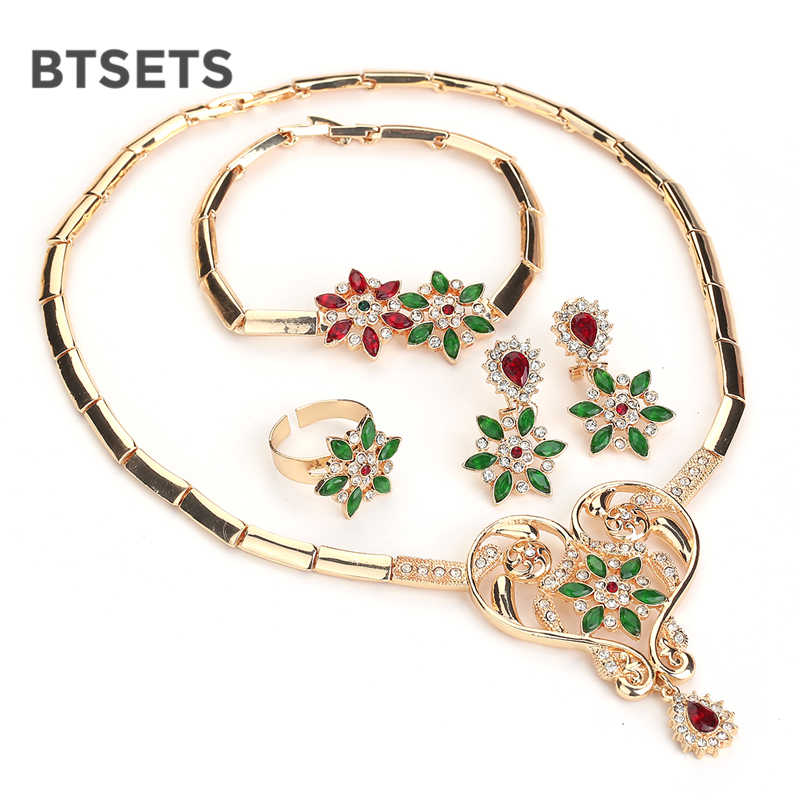 BTSETS African Beads Jewelry Set Nigerian Wedding Crystal Jewelry Sets For Women Plant Eritrean and Ethiopian Jewellery Gift