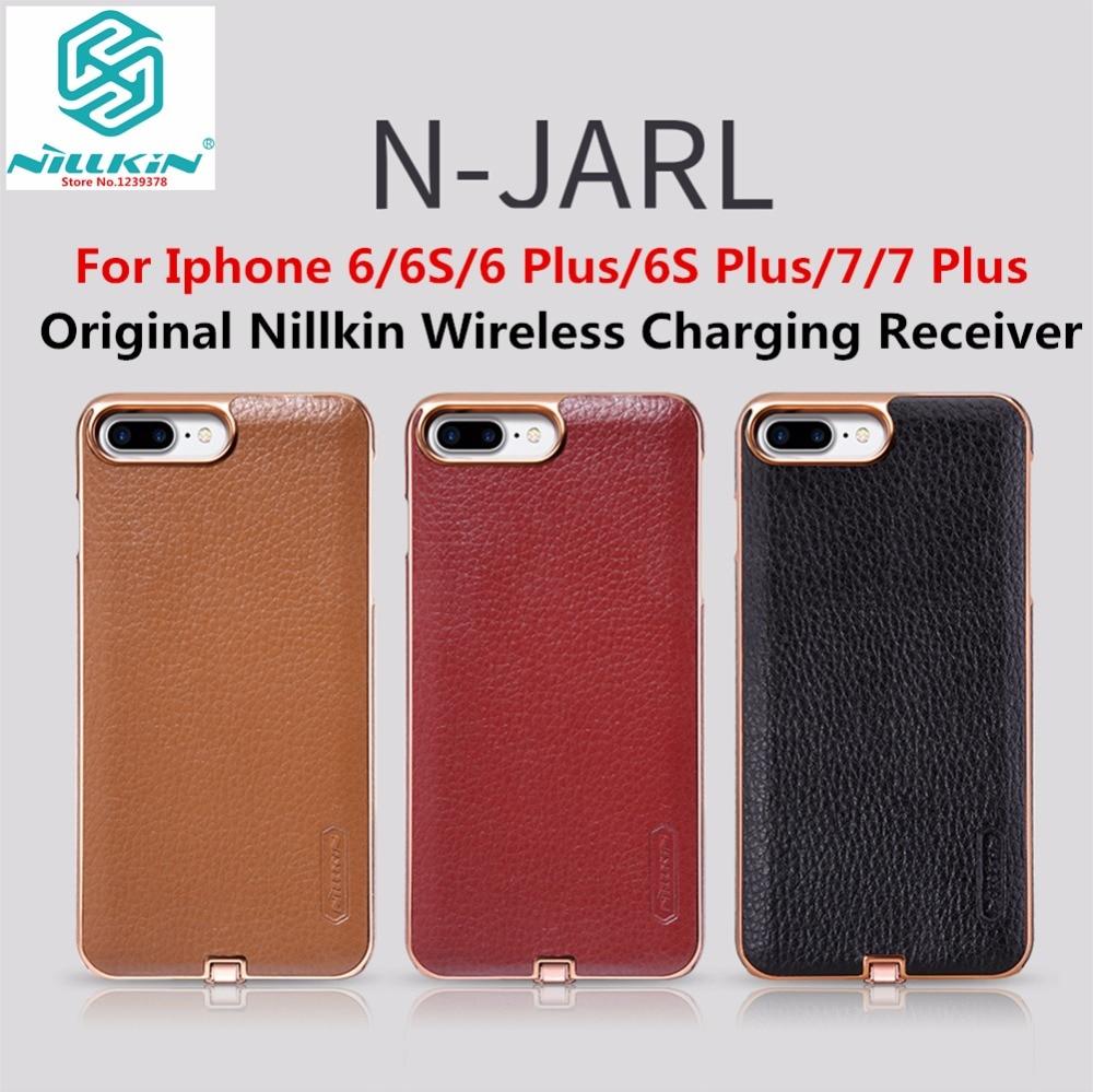 Цена за Оригинал NILLKIN Роскошные PU Кожа Гальванических Ци Беспроводной Зарядки Приемник Case Cover For iPhone 6 6 S 6 S Плюс 7 7 плюс