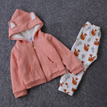 Hot Sale Children Winter Clothing Set  Fashion Fox  Pattern Newborn Baby Set Clothes For Toddler Kids Clothing