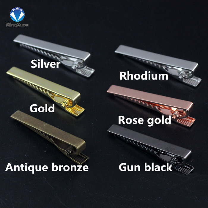 MINGXUAN 2pcs/lot Men Tie Pin Clips 6 Colors Plated Copper Tie Clips For Men 55*5mm Exquisite Wedding Tie Clips Men Tie Bar fashion tiger shape 10cm width wacky tie for men