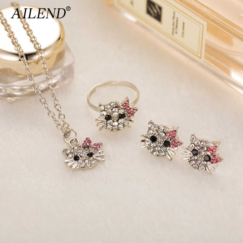 AILEND 2018 New Crystal Stud Earrings Rhinestone Hello Kitty Earrings Bowknot Jewelry For Girls Ring,Earring and Necklace Set