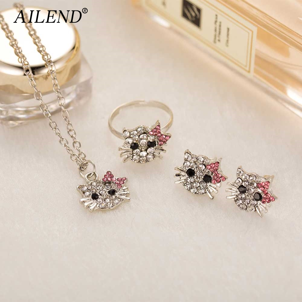 Ailend New Crystal Stud Earrings Rhinestone Hello Kitty Earrings Bowknot Jewelry For Girls Ring,earring And Necklace Set #1