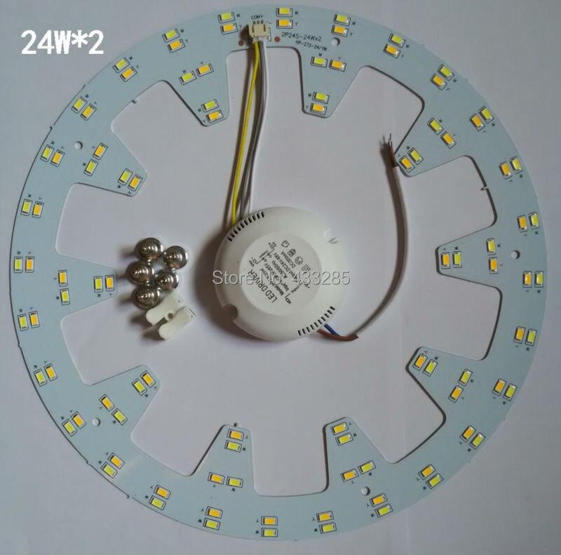 2014 NOUVEAU! LED double couleur plaque de lampe changement de température de couleur plaque de lumière spectrale vers le bas lumière plaque d'aluminium SMD5730 24 W * 2