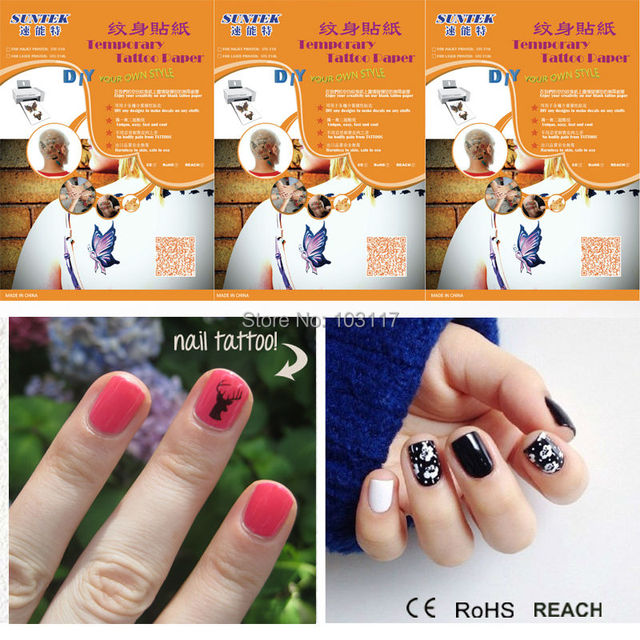 2017s Temporary Tattoos Blank Transfer Paper Nail Art Water Slide Decals Sticker Inkjet Laser 10