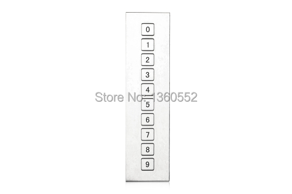 water proof vertical stainless steel 10 keys button door entry keypad metal numeric keypad for