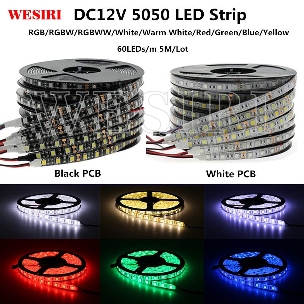 5m LEDs SMD3528 5050 Flexible Led Strip W WW Blue Green Red RGB cuttable strips