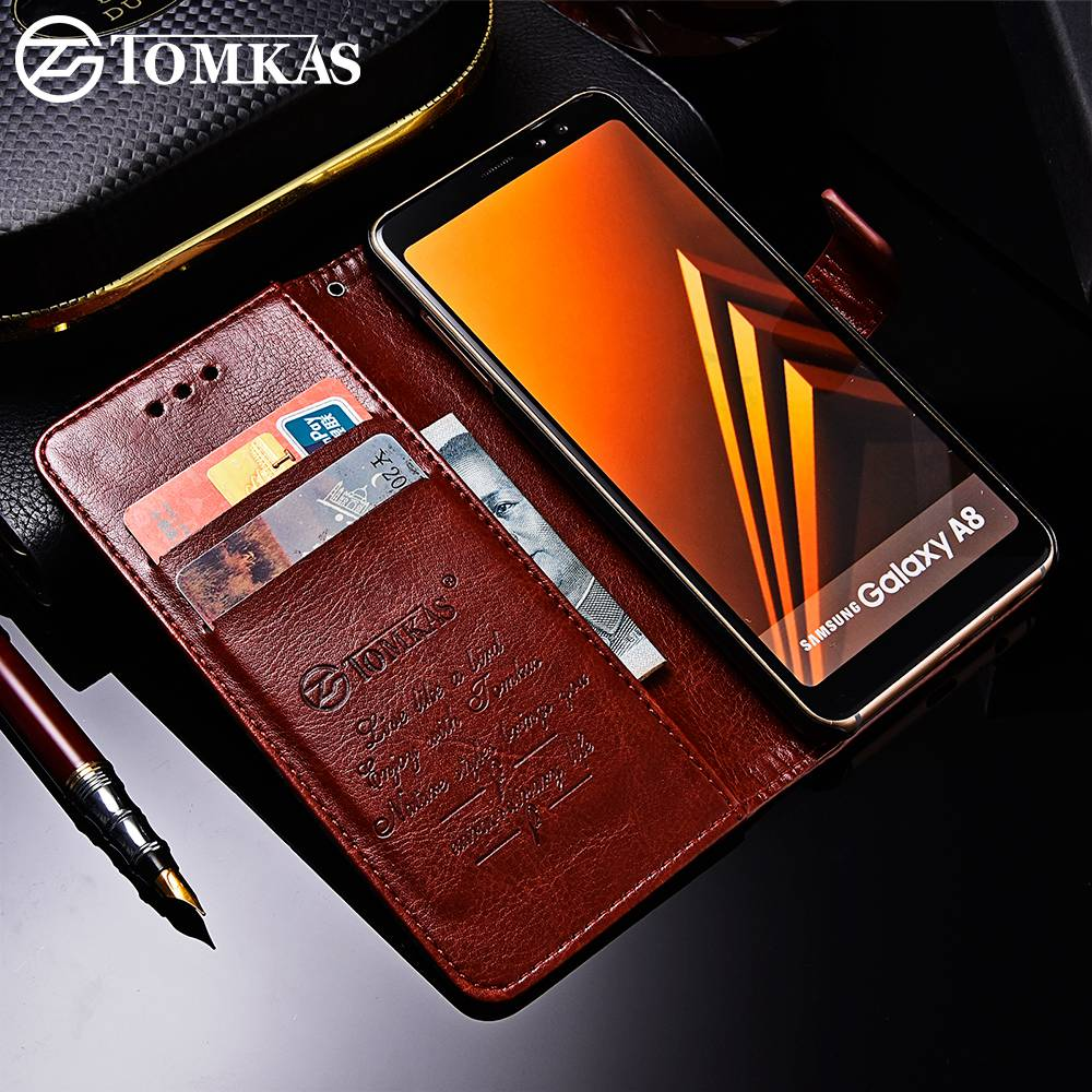 check out 6a8f7 8c55d US $4.99 |TOMKAS Business Wallet Case For Samsung Galaxy A8 2018 Cases  Cover Flip 6.0 Inch Phone Case For Samsung Galaxy A8 Plus 2018 -in Fitted  Cases ...