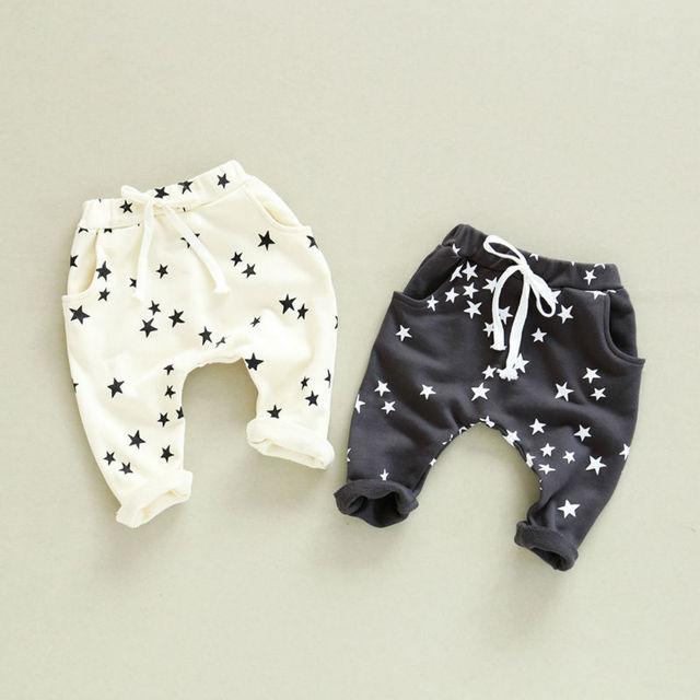Harem Pants para meninas do bebê Estrela Algodão Calça Casual Crianças esportes calças Calças Bebé 1-6A Crianças Agasalho 2016 Frete grátis