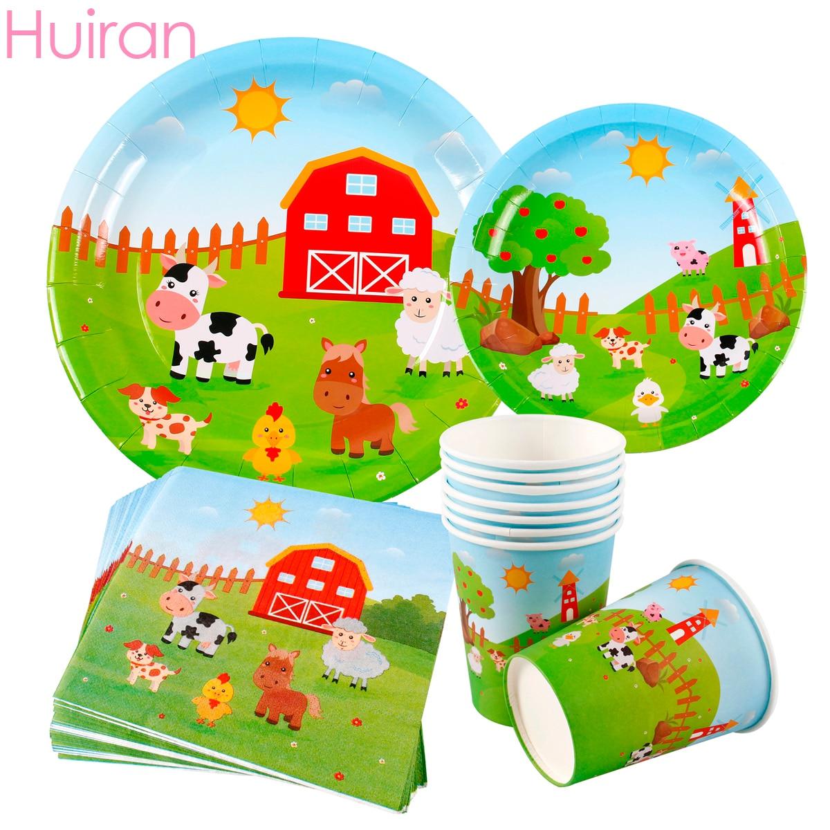 Huiran Farm Animal Party Supplies Happy Birthday Decoration Kids Disposable Tableware Decorative Paper Plates
