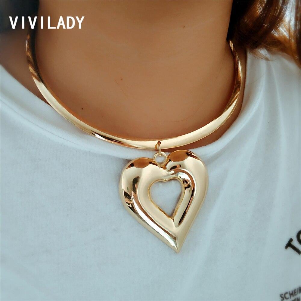 VIVILADY Trendy Heart Metal Jewelry Sets Gold Color Zinc Alloy Boho Choker Necklace Earring African Women Wedding Accessory Gift