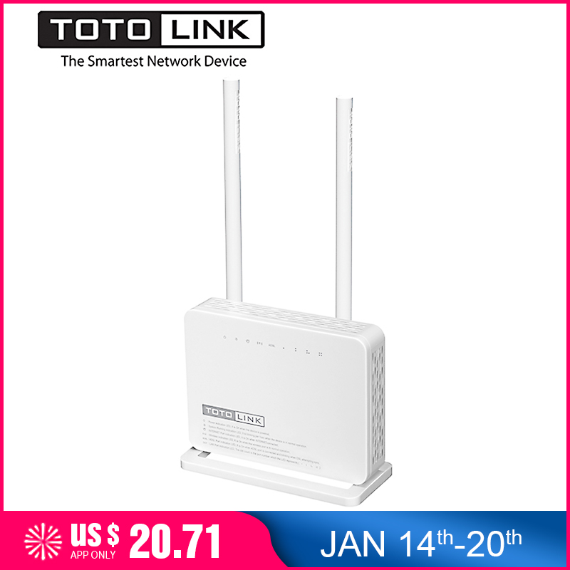 TOTOLINK ND300 300 Mbps Wireless ADSL 2/2 + Modem Wifi Router, wi-Fi Repeater/Modem/AP/4-port-Switch in Einem, Portugiesisch Firmware