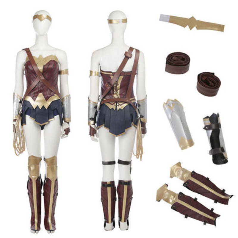 Wonder Woman Cosplay Costume Accessories Leather Belt Strap Wristband Batman V Superman Wonder Woman Sexy Dress For Halloween