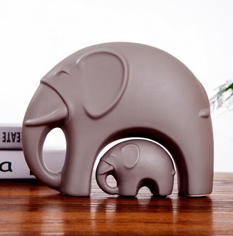Матовые керамические ремесла абстрактные простые животные мать и ребенок слон домашнее украшение высокого класса ремесла оптовая продажа