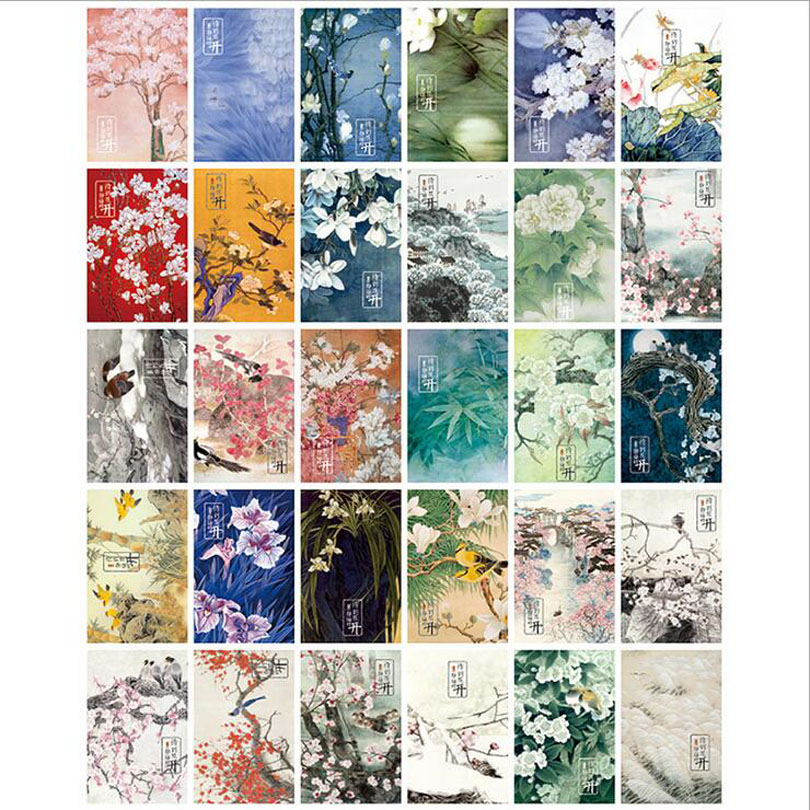 30pcs lot Ink painting wait for flower in full bloom Vintage memory postcard set Greeting Cards