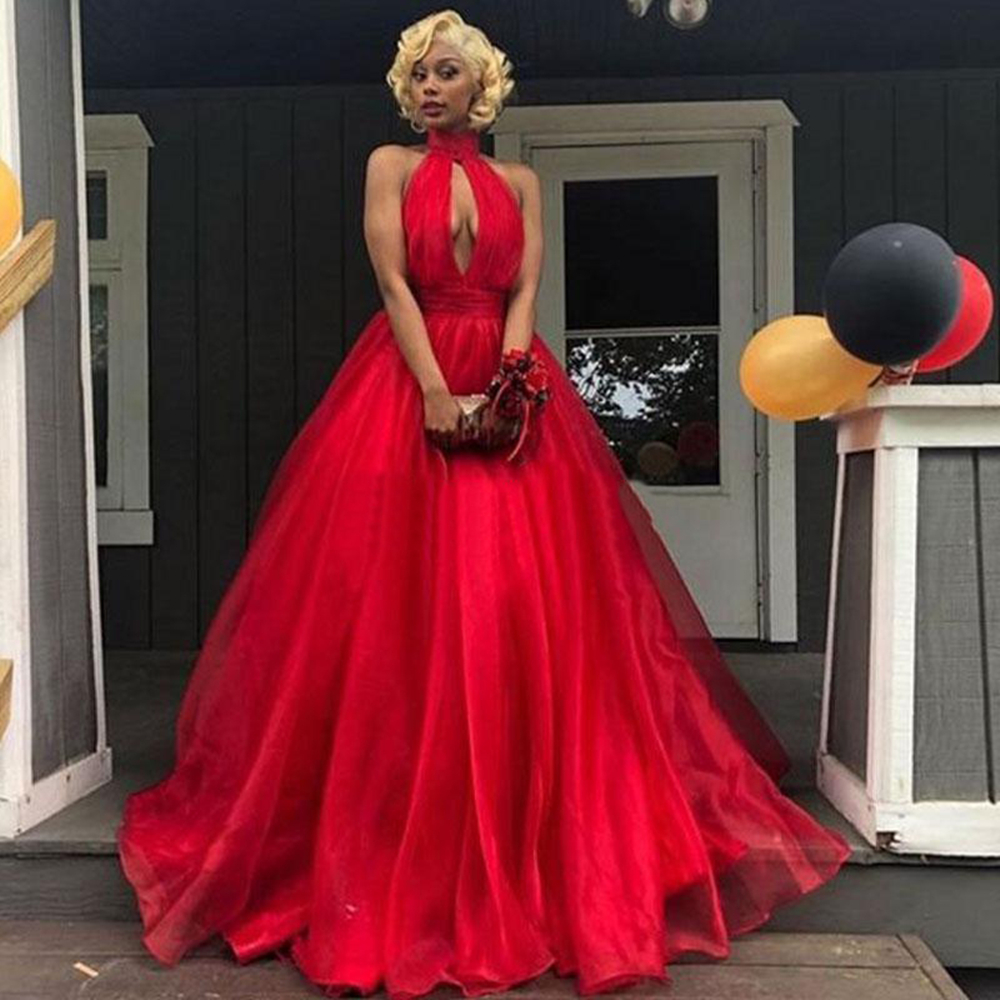 Red Ball Gown Evening Dress High Neck Sleeveless Floor Length Organza Formal Prom Gowns Hot Selling Women Party Dresses Cheap