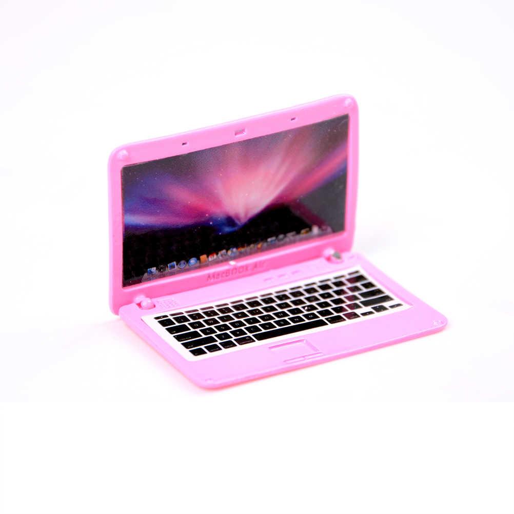 4 kolor Mini laptop 5.5*4.4*0.2cm domek dla lalek scena MINI laptop lalka symulacyjna akcesoria dla Mini domek dla lalek