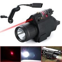 3 mod Taktik Insight Kırmızı Lazer Q5 LED el feneri 300 Lümen El Feneri Tabanca Tabanca Kuyruk Uzaktan basınç anahtarı