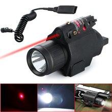 3 모드 전술 통찰력 빨간 레이저 q5 led 손전등 300 루멘 손전등 권총 총 꼬리 원격 압력 스위치