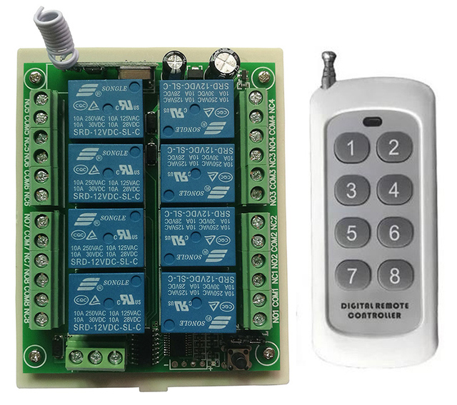DC 12V 24V 8 CH Channels 8CH RF Wireless Remote Control Switch Remote Control System receiver transmitter 8CH Relay 315/433 MHz