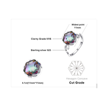 3.2ct Genuine Rainbow Fire Mystic Topaz Ring Solid 925 Sterling Silver Jewelry Best Gift For Women Fine Jewelry