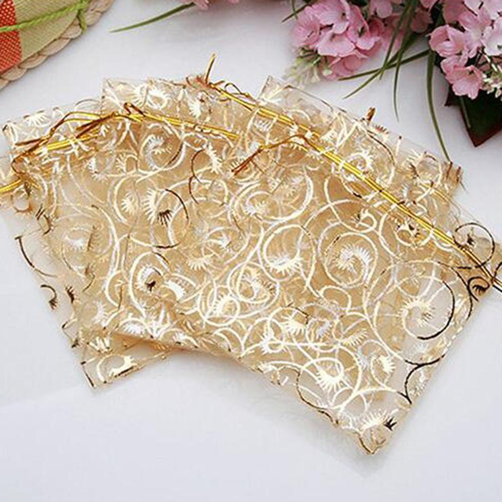 Wholesale 25pcs 10*12cm Drawstring Organza Gold Bags Jewelry Packaging Bags Wedding Gift Jewellery Pouches