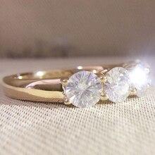 14 к желтое золото 5 шт. круглый DF Муассанит обручение всего 0.5ctw лаборатория Алмаз пасьянс Свадебные для женщин