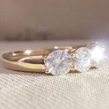 14K Yellow Gold 5pcs Round DF Moissanite Engagement Band Total 0.5ctw Lab Diamond Solitaire Wedding for Women - DISCOUNT ITEM  30% OFF All Category