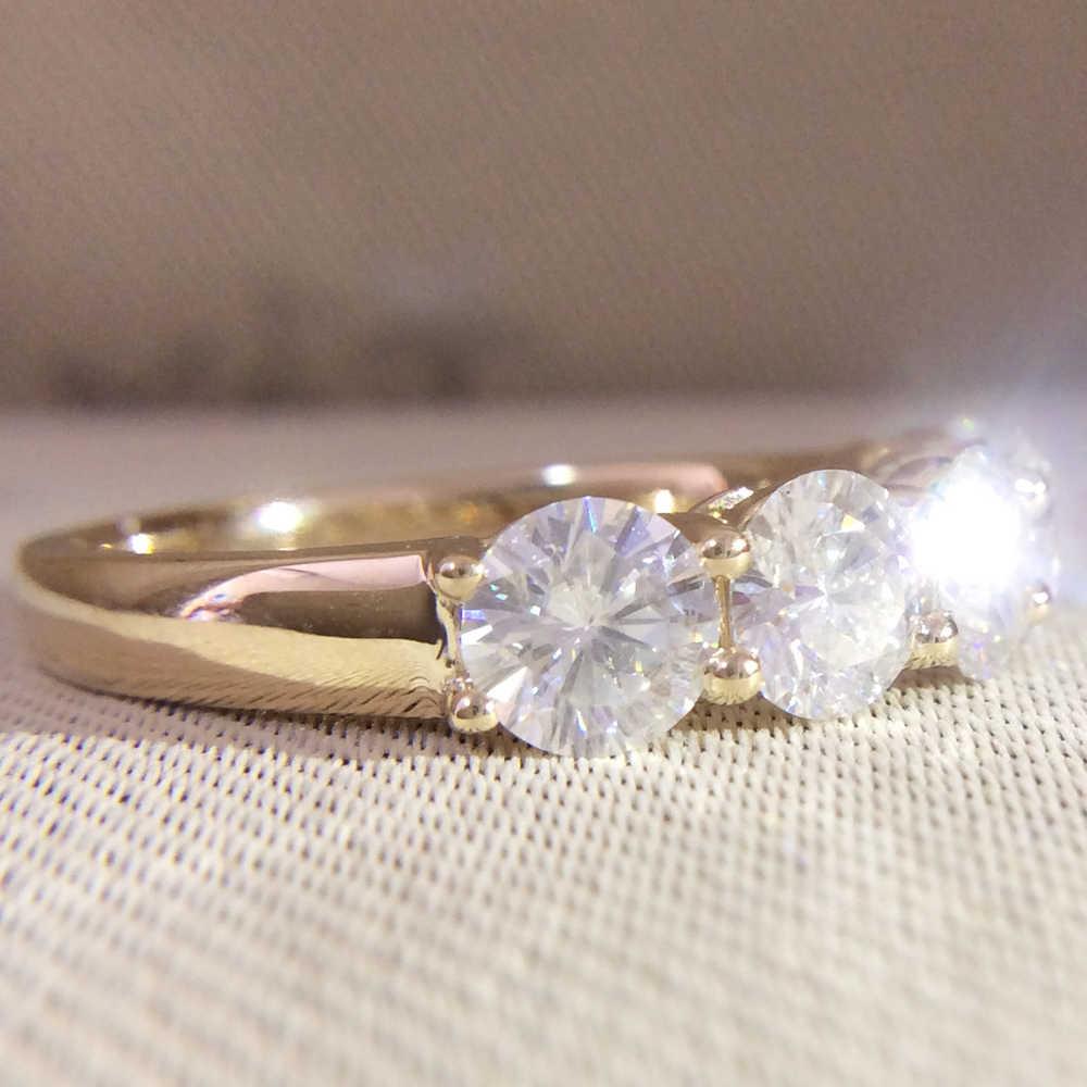 Oro amarillo de 14K 5 uds. Anillo de compromiso redondo de DF molissanite Total 0.5ctw laboratorio diamante solitario boda para mujeres