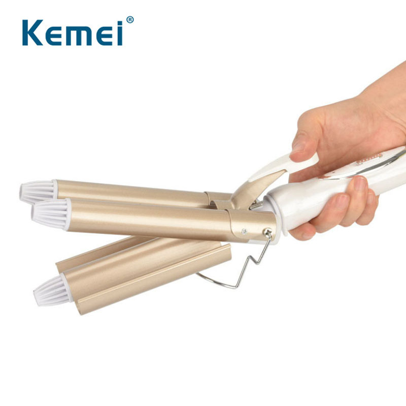 Kemei Hair Curler Professional Curling Iron Electric Styling Ceramic Straightener 3 Barrel Perm Rollers Blow Dryer Tools 42D
