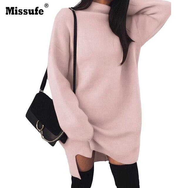 109a81ef2d Missufe Autumn Winter Knitted Dress Women Casual Solid Loose Winter Mini  Dress Vestido Turtleneck Long Sleeve