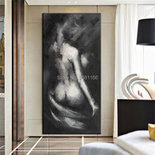 Hand painted Large vertical Canvas Oil Painting black and white Picture Abstract nude woman back Wall Art Living Room home Décor