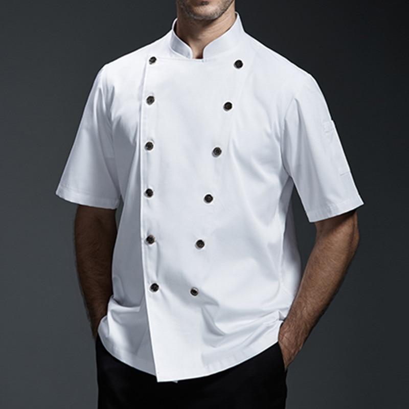 Black Gray White Short Sleeve Summer Shirt Barista Hotel Restaurant Kitchen Chef Uniform Bistro Baker Bar Catering Work Wear B91