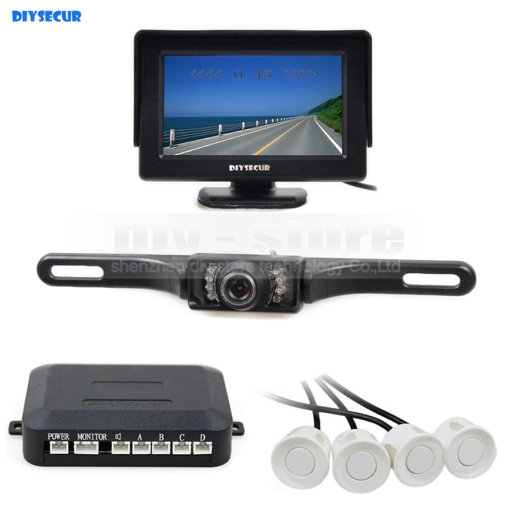 DIYSECUR vidéo capteur de stationnement 4.3 pouces vue arrière voiture moniteur Kit + Radar de stationnement + IR Vision nocturne voiture caméra aide au stationnement