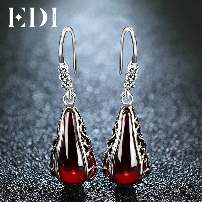 EDI Red Garnet Drop Earrings Bohemian Style Silver 925 Sterling Silver Jewelry For Women ...