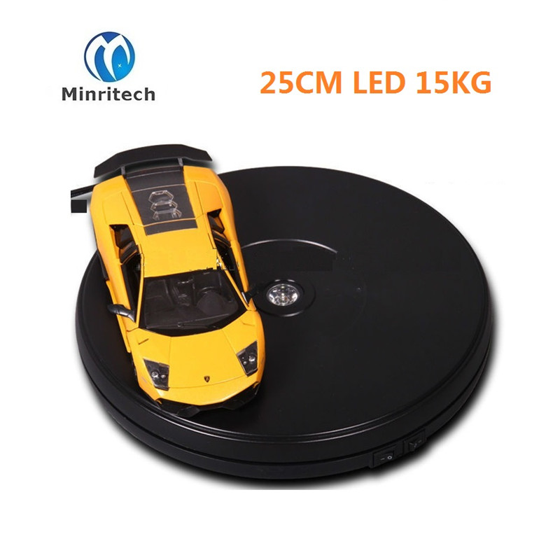 LED Merchandise Display Base 360 Degree Electric Rotating Turntable 15kg Capacity 25CM Automatic Revolving Platform ems free shipping 3d photo shop display rotating turntable 360 degree mannequin photography stand