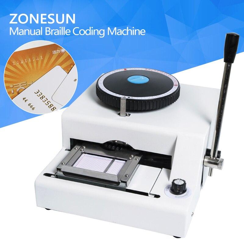 ZONESUN 68 or 72 Character PVC Printing Machine Gift Card Credit ID Manual Embosser Letterpress Rotogravure credit card pvc uv printing machine digital ceramic tile printing machine