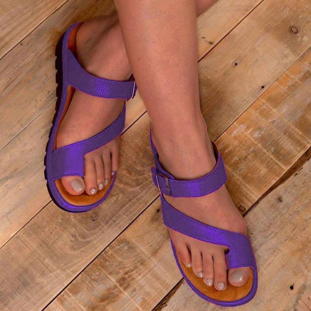 MUQGEW Women's Shoes With Platform Thick Bottomed Sandal Women Shoes Belt Buckle Open Sandals Clip Toe Summer Beach Purple Shoe