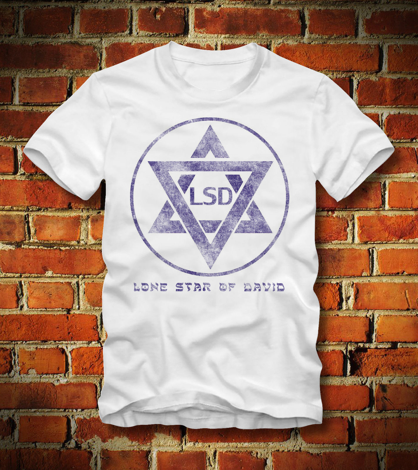 Fashion 100% cotton Hot sale Summer <font><b>T</b></font> <font><b>SHIRT</b></font> <font><b>ISRAEL</b></font> FLAG LSD LONE STAR OF DAVID STERN STAR PSYCHEDELIC Tee <font><b>shirt</b></font> image