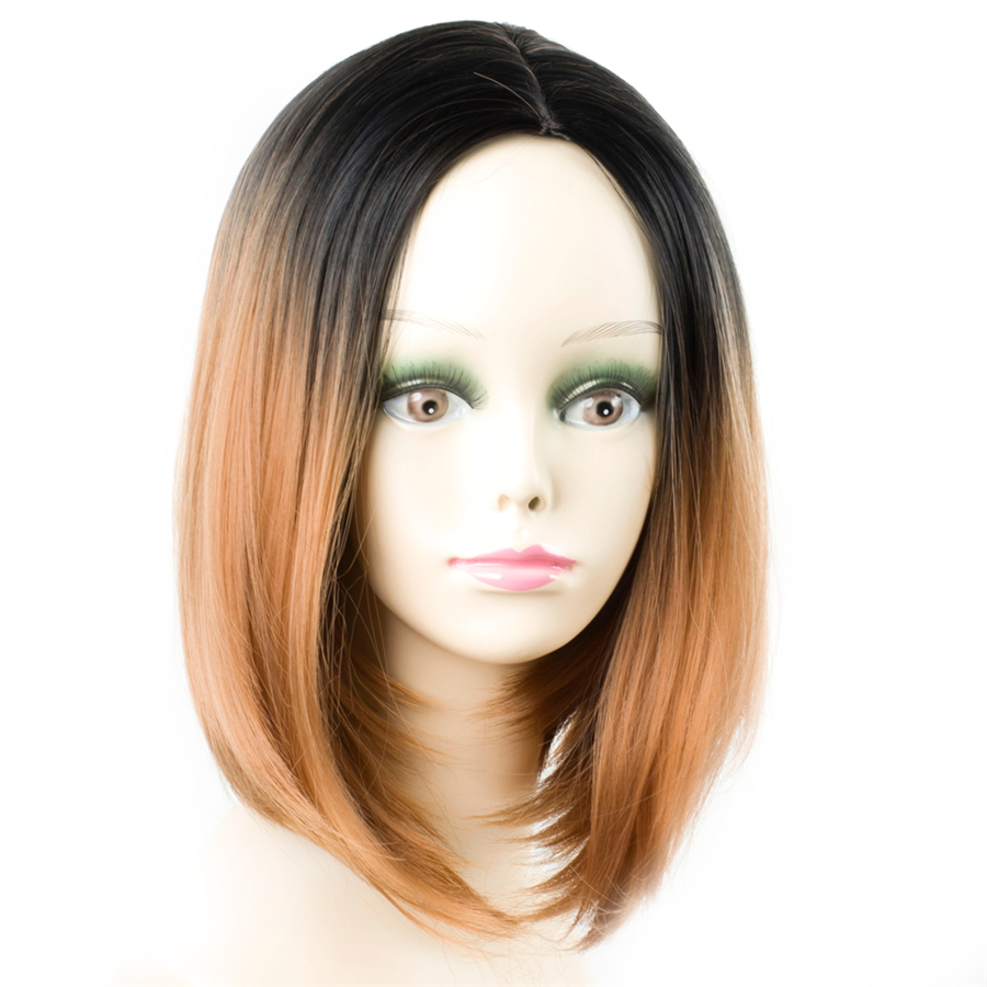 ELEGANT MUSES Ombre Red Wigs Synthetic Short Bob Straight Wigs for Women Short Bob Hairstyle Wigs Heat Resistant