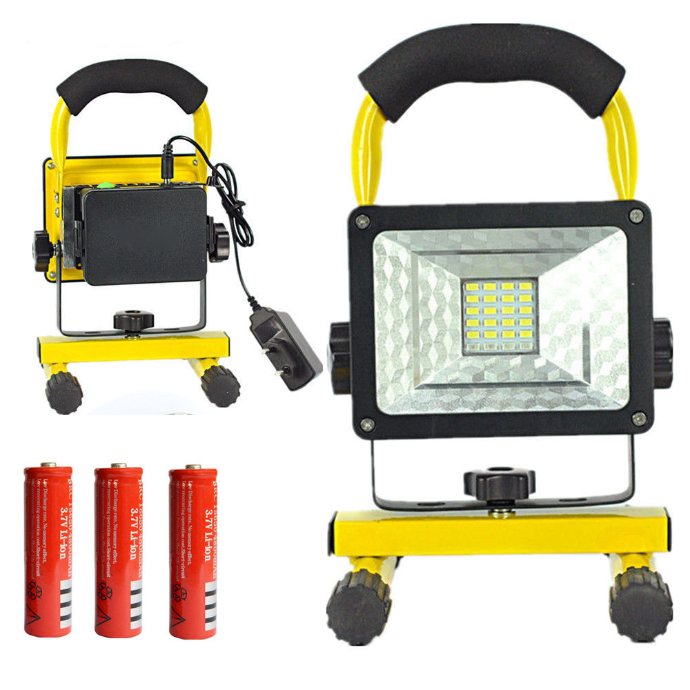 20W Super Bright Outdoor Camping LED Flood Lights Waterproof White Light Portable Floodlight +Charger+3x 18650 Battery new 6 18650 battery new powerful lights rechargeable led floodlight 100leds 2400lumen 100w flood lamp portable light