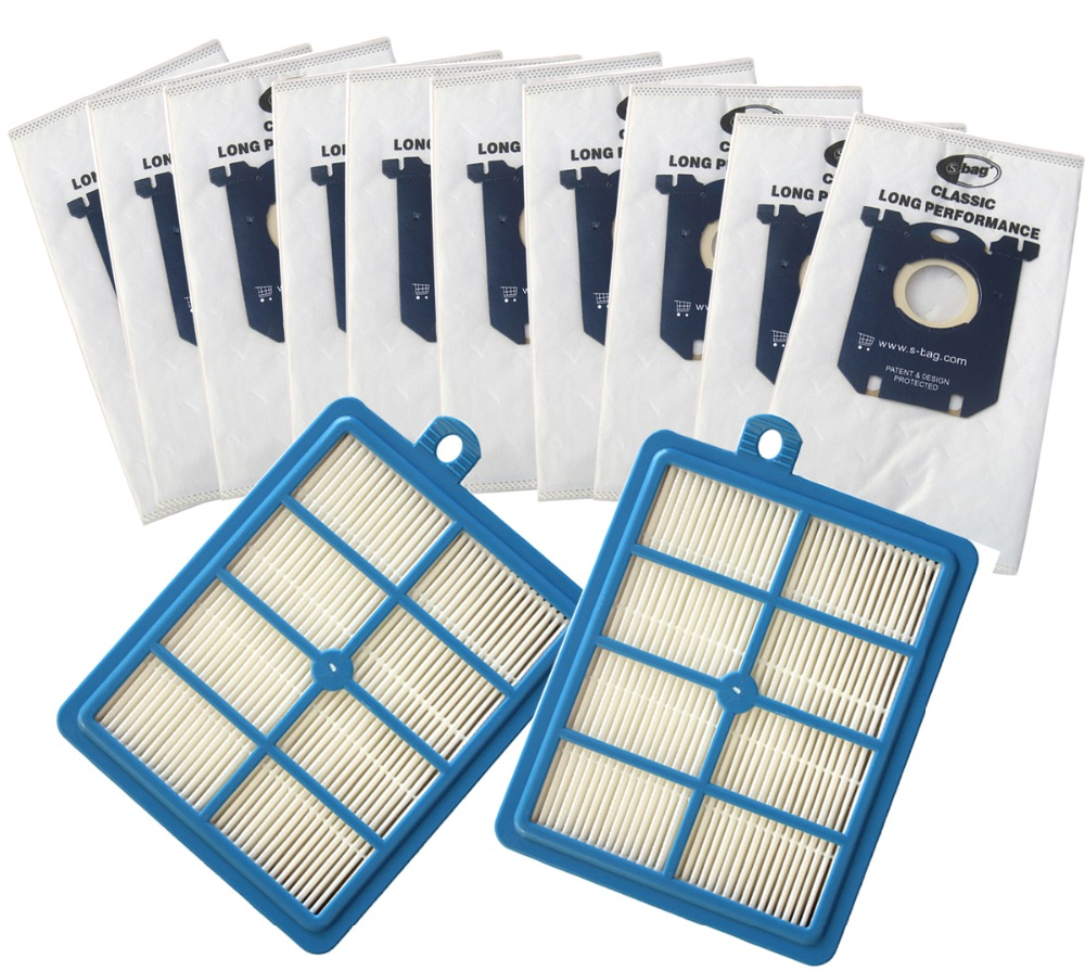 10x Vacuum Cleaner Dust Bags S-bag And 2x H12 Hepa Filter Fit For Philips Electrolux Cleaner Free Shipping
