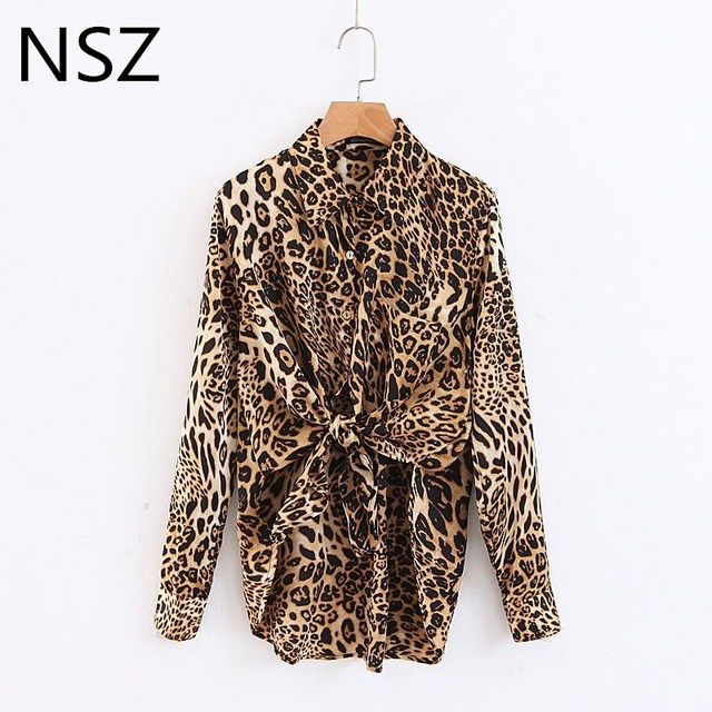 Women Leopard Animal Print Shirt Sexy High Split Blouse Long sleeve Ladies Fashion Top Loose Blouses Clothing Camisa Feminina