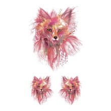 Hot Design Temporary Tattoo For Adult Waterproof Tatoo Sticker Body Art Color Pencil Hand Painted Fox Fake Tattoo Man Woman