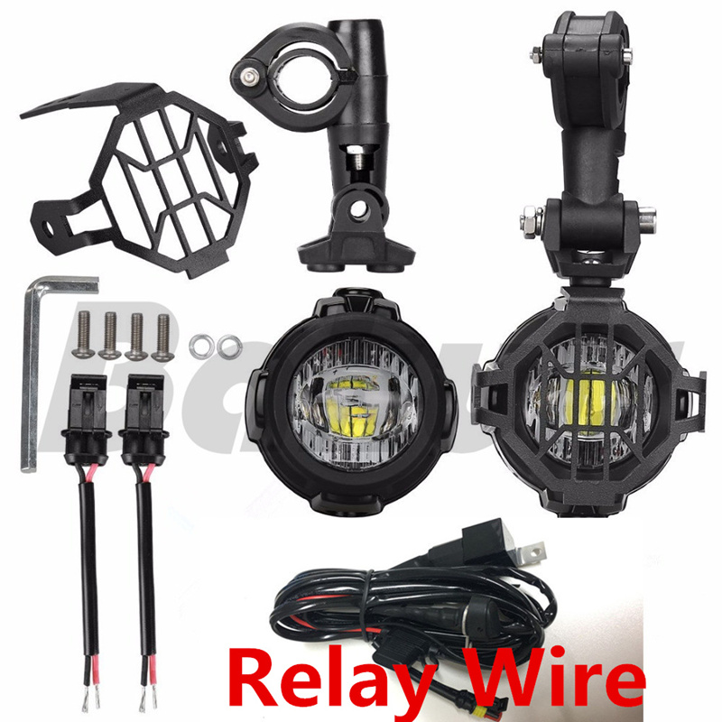 New 40w Motorcycle LED Auxiliary Fog Light Kits Spot Driving Lamps with Protect Guards W ...