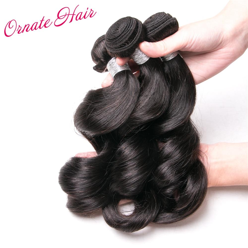 Ornate Brazilian Hair Weave Loose Wave 3 Bundles Human Hair Extension Natural Color 12-24 Inch Non Remy Hair Bundles